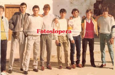 Loperanos de la Quinta de 1986. Fernando Soler, Pedro Girón, Juan Gutiérrez, Diego Partera, Francisco Jurado, Bonoso Lara, Juan Serrano.