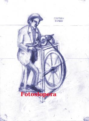 Hoy nuestro recuerdo al oficio de Afilador de la mano de un boceto de nuestro pintor de Lopera Paco Cantero