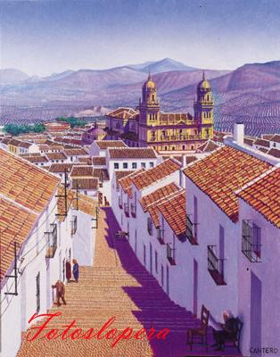 """Hoy nuestro paseo vespertino será por las calles de Jaén capital de la mano del cuadro """"Allí abajo la Catedral"""" de nuestro pintor Paco Cantero."""