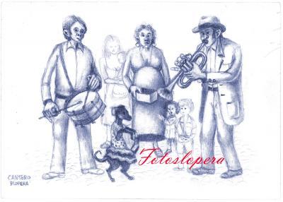 Hoy nuestro recuerdo será para los titiriteros que pasaban por Lopera, de la mano de un boceto de la perrita bailarina realizado por nuestro pintor de la luz y de Lopera Paco Cantero.