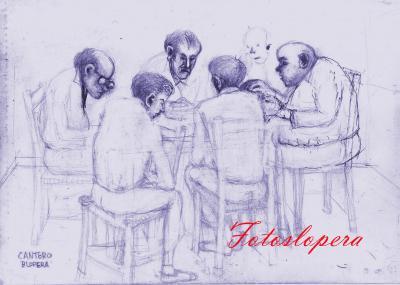 Tertulias y partidas de cartas a través de un boceto de nuestro pintor de Lopera Paco Cantero.