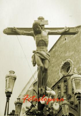 Imagen del Cristo de la Vera Cruz o de la Expiración obra de Amadeo Ruiz Olmos. Procesión Viernes Santo del año 1962