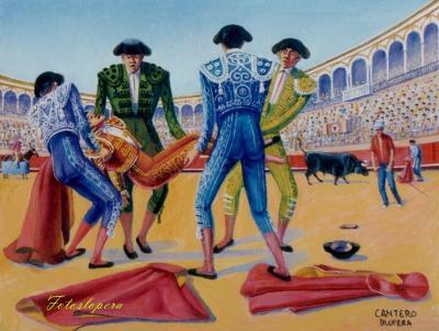 """Del tema taurino que pintó nuestro entrañable pintor de la luz Paco Cantero hoy recogemos el óleo sobre lienzo """"La cogida""""."""