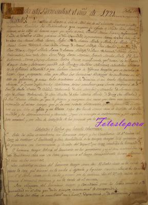 Folio primero del Libro de Actas de la Cofradía de Ntro. Padre Jesús Nazareno de Lopera. Año 1721
