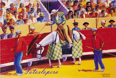 """Siguiendo con los temas taurinos que pintó nuestro entrañable pintor de la luz Paco Cantero hoy recogemos el óleo sobre lienzo """"Picaor""""."""