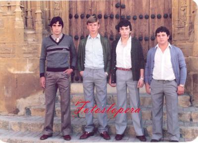 Grupo de loperanos de la Quinta del año 1983. Carlos Gómez, Rafael Melero, Fermín Marín y Rafael Adán