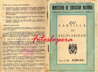 Recuerdo a las Cartillas de Escolaridad, aquí os dejamos la del loperano Juan Merino Valenzuela.