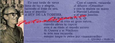 Pasodoble dedicado al célebre diestro Diego Pacheco MANTEROLA por S. Quero Chueco. Año 1950