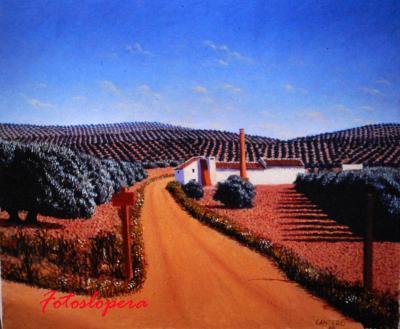 """Paseo vespertino por los aledaños de Lopera a través del cuadro """"Camino del Saetal"""" de nuestro pintor de Lopera Paco Cantero ."""