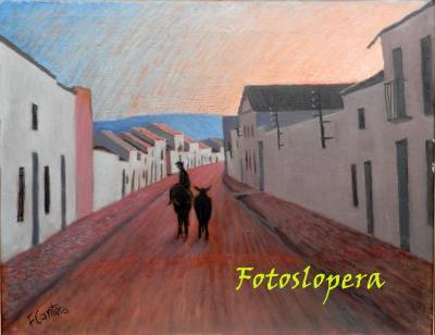 Paseo matinal por el pasado de las calles y plazas de Lopera. Hoy por la calle Capitán Bellido (Hoy Avda. Andalucía) de la mano de un cuadro de nuestro entrañable pintor de Lopera Paco Cantero.