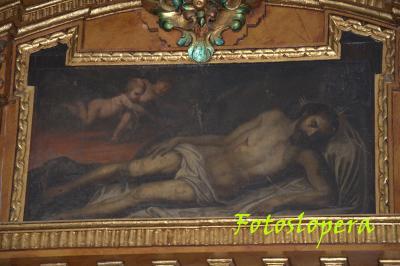 Lienzo de Cristo Yacente en la Capilla de la Virgen de los Dolores en la Ermita de Jesús. Siglo XVIII.