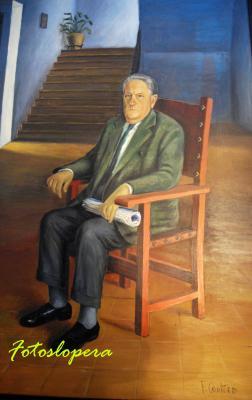 """El Administrador del Periódico Quincenal Independiente """"Ecos Loperanos"""", Antonio Bellido Verdejo (Antoñito el Coronel) en un cuadro de Paco Cantero."""