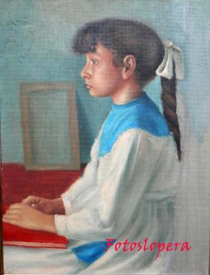 Retrato inacabado de la loperana Maria Esperanza Cantero Luque realizado en su primera etapa por el pintor de la luz Paco Cantero.
