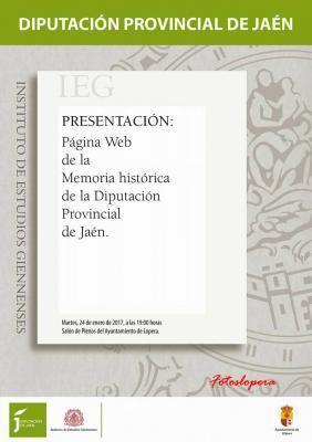 Mañana martes día 24 de enero a las 19 horas en el Salón de Plenos del Ayuntamiento de Lopera tendrá lugar la presentación de la Página Web de Memoria Histórica de la Diputación de Jaén.